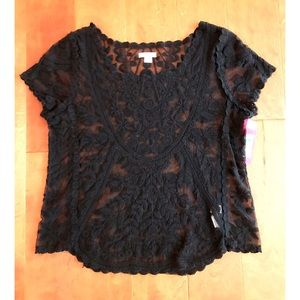 Xhilaration Black Lace Tee